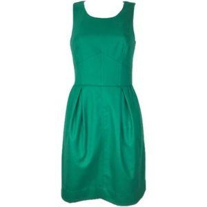 J Crew Pleated Shift Dress Green Size 00